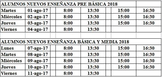 Horario matrículas 2018